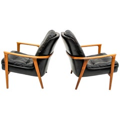 Midcentury Black Leather and Rosewood Lounge Chairs by Bröderna Andersson