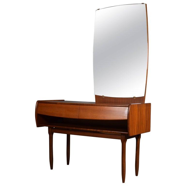 Midcentury Scandinavian Teak Dresser with Large Mirror