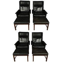 Pair of Kai Lyngfeldt Larsen Lounge Chairs with Foot Stools, circa 1970