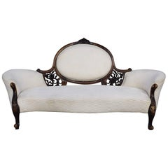 Victorian Antique Chaise Longue Love Seat Sofa, 18th-19th Century