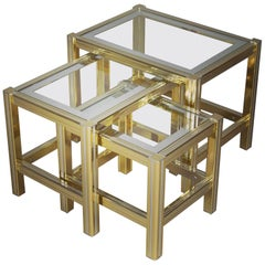 Set of Three Brass Glass Nesting Tables, circa 1970