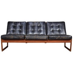 Teak and Leather Sofa Model FD130 by Hvidt and Molgaard-Nielsen, circa 1950