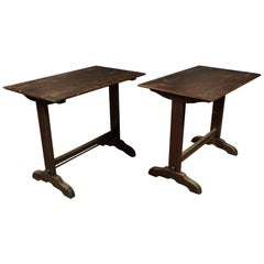 Pair of Oak Bistro Tables from France, circa 1940