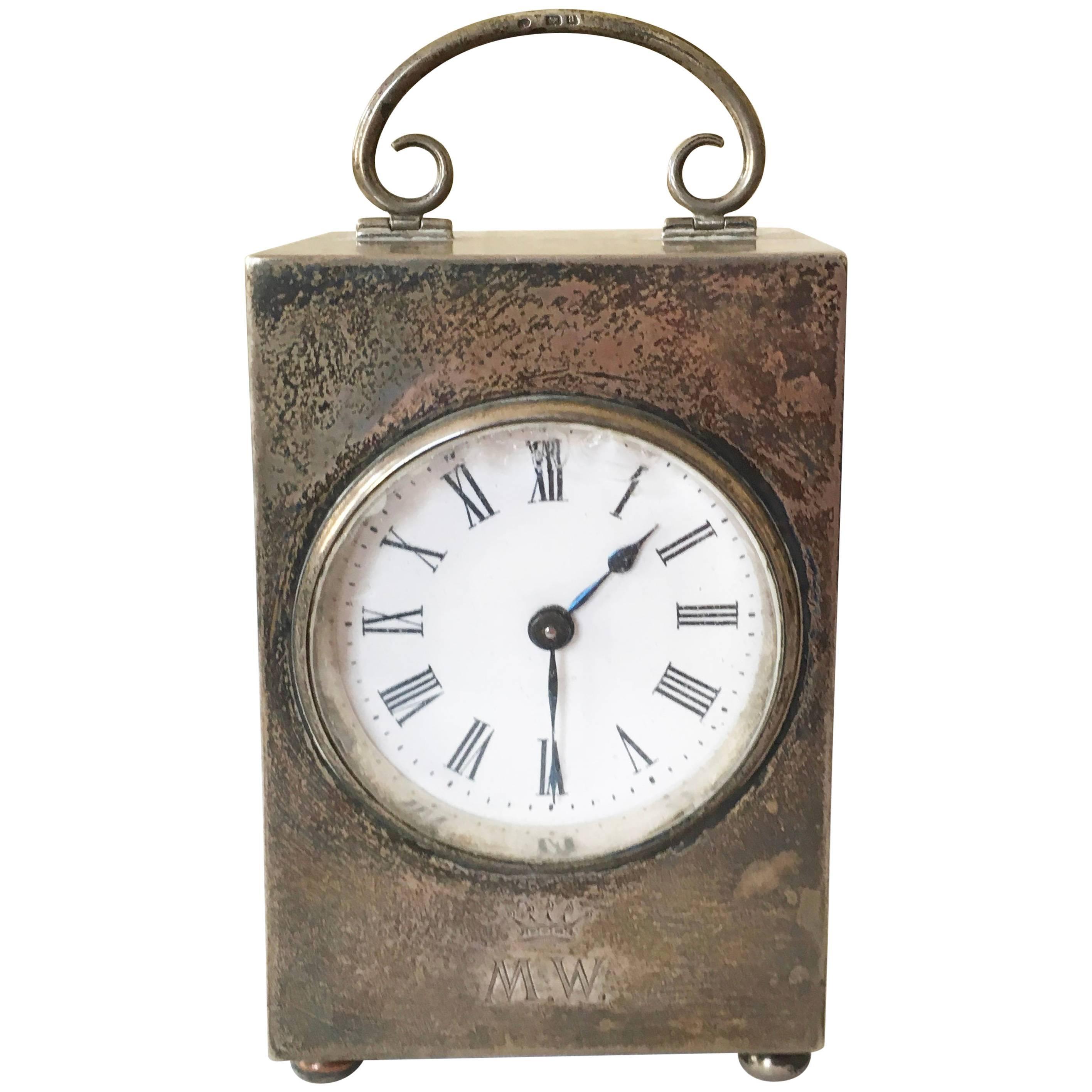 Douglas Clock Silver Travel Table Clock
