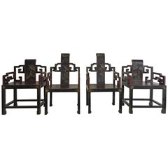 Set of Four Chinese Art Deco Chairs Carved Hand-Painted