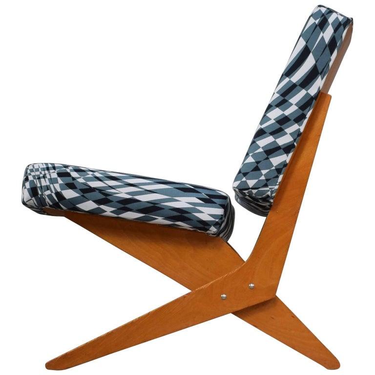 Scissor Lounge Chair by Jan Van Grunsven for Pastoe, New Upholstery, 1957