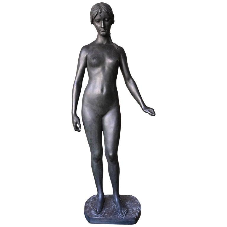 Neoklassische Bronze Statue von Psyche in Lebensgröße, Ludvig Brandstrup, Dänemark, 1898 1