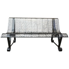 Polished Iron French Garden Bench, 1950