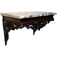 18th Century Carved Mahogany Marble Top Console Table