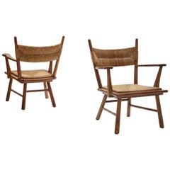 Bas Van Pelt Armchairs in Solid Oak and Straw, The Netherlands, 1940s