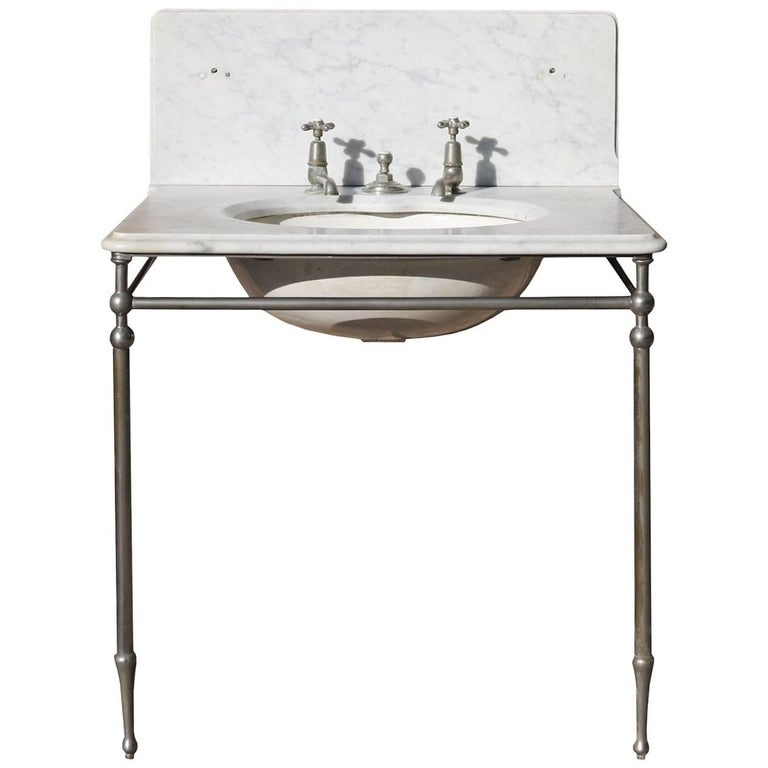Late 19th Century Carrara Marble Plunger Basin 'Shanks & Co' Basin