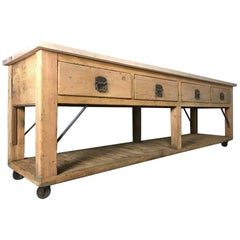 20th Century Pine and Beech Baker's Table Kitchen Island Worktable Sideboard