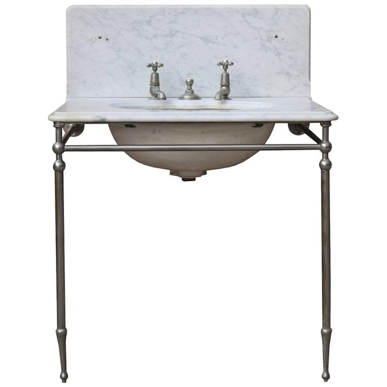Late 19th Century Carrara Marble Undermounted 'Shanks & Co' Basin