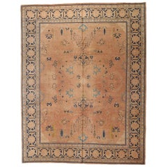 Handwoven Antique Persian Tabriz circa 1920 Shrimp Colored Field and Blue Border