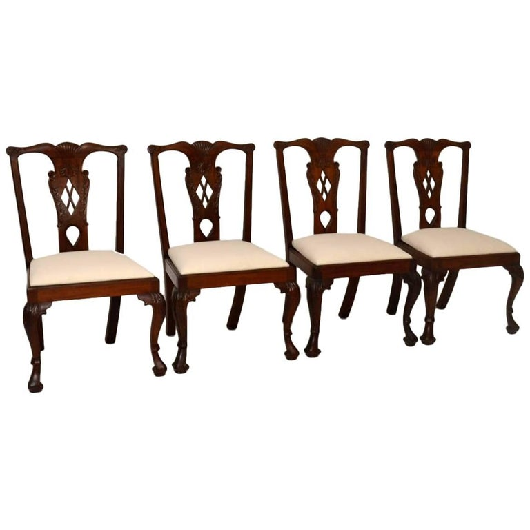 Set of Four Antique Mahogany Chippendale Dining Chairs