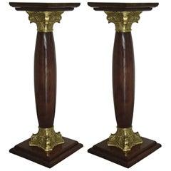 Midcentury Decorative Pair of Pedestals Walnut with Brass
