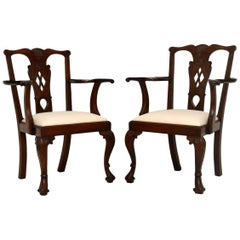Pair of Antique Mahogany Chippendale Carver Armchairs