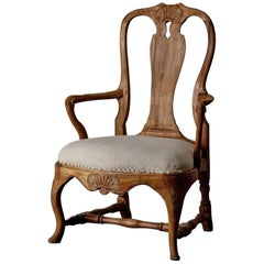 Armchair Swedish Rococo Period Natural Wood, 18th Century, Sweden