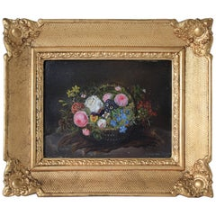 Mid-19th Century, Still-Life with Flowers, Oil Painting