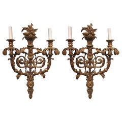 Pair of Hand-Carved Gold Gilt Sconces