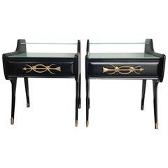 Pair of Italian 1950s Ebonized Bedside Tables
