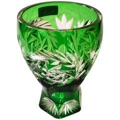 Vintage Bohemian Cut Crystal Green Vase
