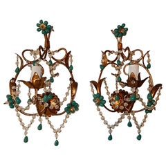 French Turquoise Green Murano Beads Rock Crystal Swags Sconces