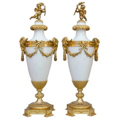 19th Century French Pair of Large Ormulu White Marble Vases, Casolettes