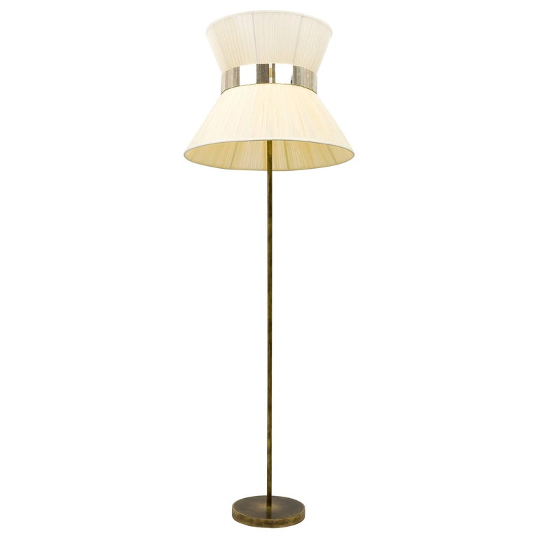 Tiffany Floor Lamp RUST ivory Silk, Antiqued Brass, Silvered Glass Handmade    For Sale