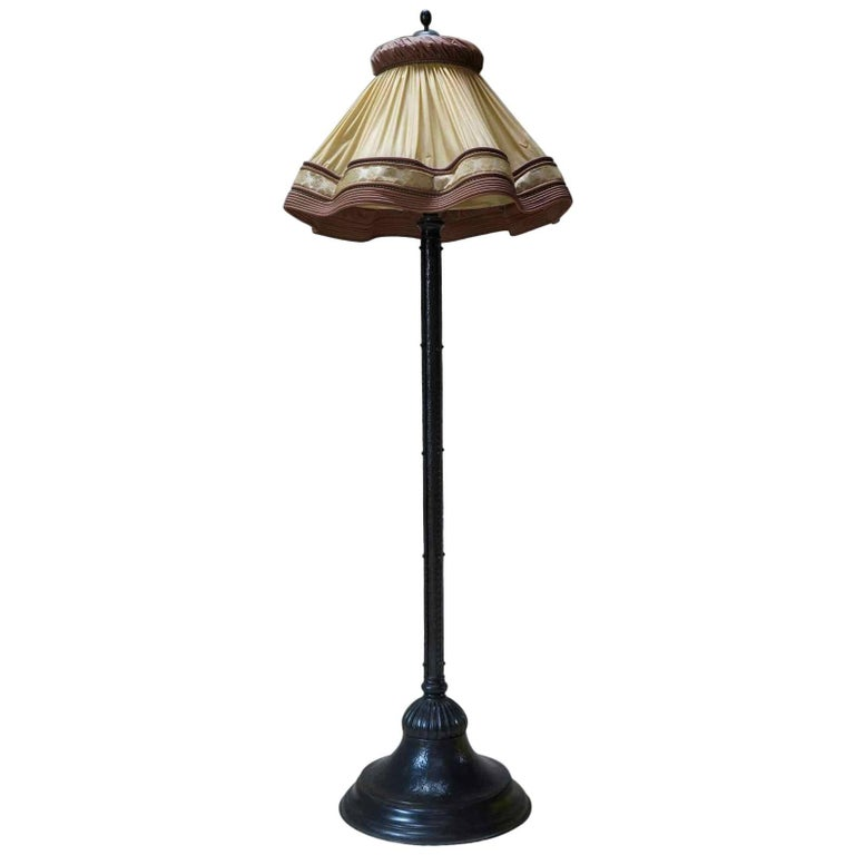 1930s Hammered Iron Floor Lamp with Large Plastic Shade