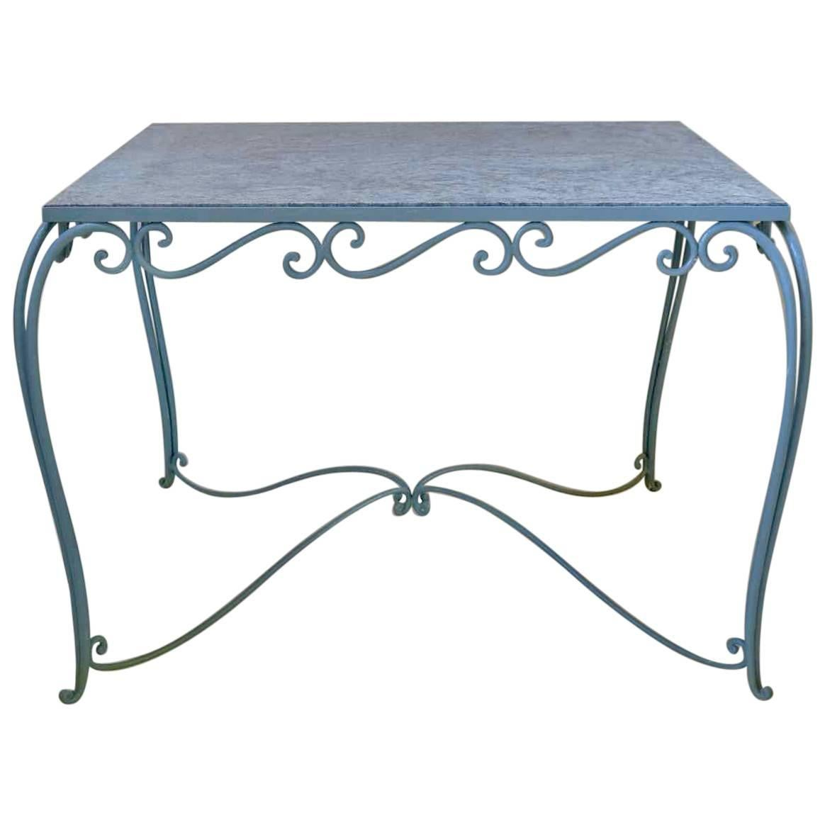 Large 1940s Square Wrought-Iron and Granite Dining Table from France
