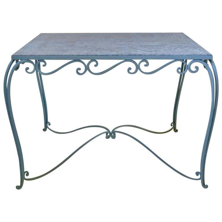 Large 1940s Square Wrought-Iron and Granite Dining Table from France For Sale