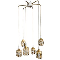 Six Brass Gold-Plated and Diamond Shaped Crystals Cascade Chandelier