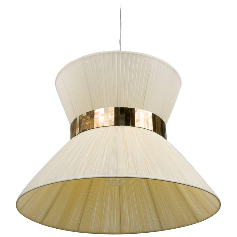 Tiffany Hanging Lamp 80 cm ivory Silk and Silvered Glass Handmade in Tuscany