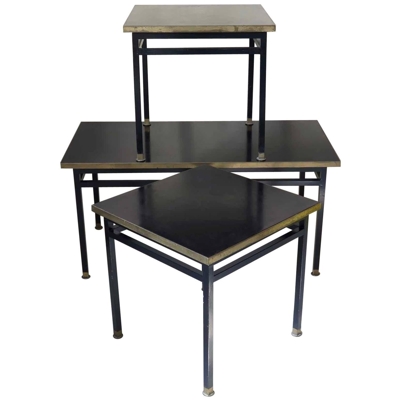 Bakelite, Brass and Iron 1950s Side Tables