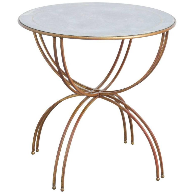 Maison Baguès Gilded Iron Side Table, Interbellum