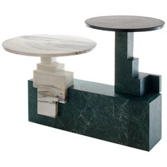 Off-Cut Three Coffee Table in Green Marble and White Marble by Raw Material