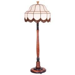 Art Deco Oak Floor Lamp, Period 1920-1929, Shellac Polish