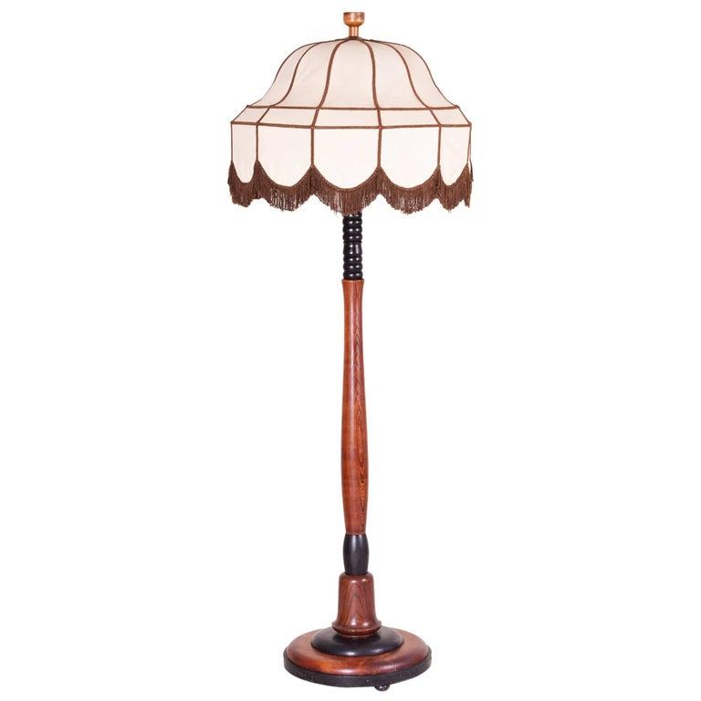 Art Deco Oak Floor Lamp, Period 1920-1929, Shellac Polish For Sale