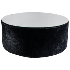 Round Coffee Table, Black Shearling, Glass Top