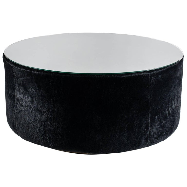 Black Glass Coffee Table Sale: Round Coffee Table, Black Shearling, Glass Top For Sale At