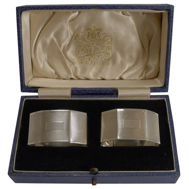 Pair of English Sterling Silver Art Deco Napkin Rings, 1934