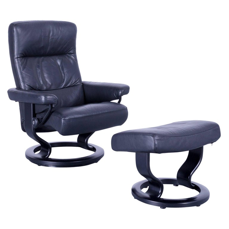 Ekornes Stressless Memphis Armchair Footstool Black Leather Recliner Chair For