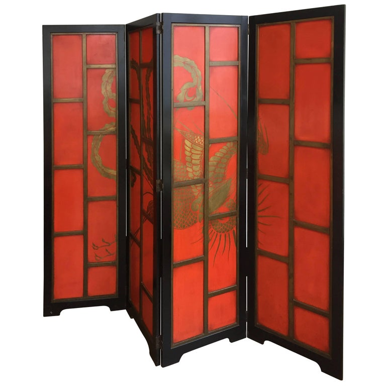 Chinese Paravent Art Deco Style in Color China Red and Black Lacquer Four Panels