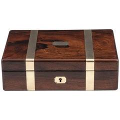 Antique Brass Bound Mahogany Jewelry Box, 19th Century