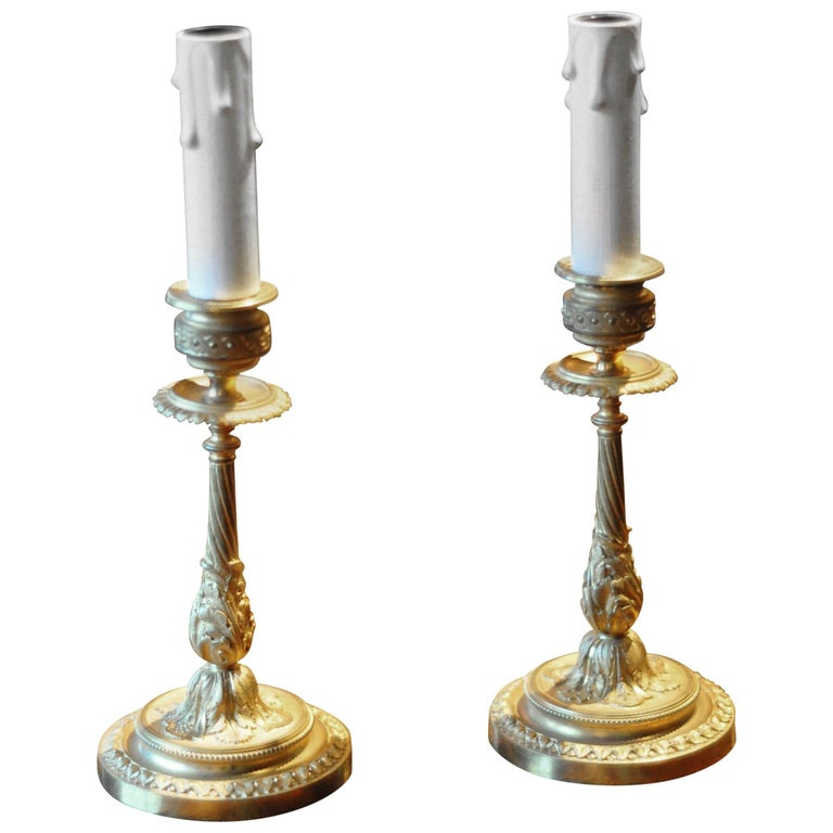 Pair of 19th Century French Bronze Gold-Plated Candlestick Lamps