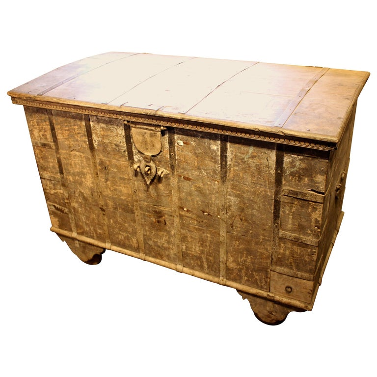 Large Indian Colonial Dowry Chest with Iron Strap Work
