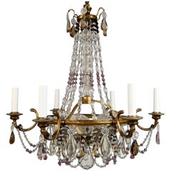 Bronze and Crystal Neoclassical Style Chandelier