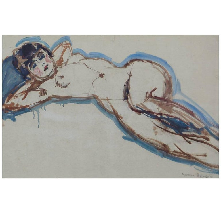 Maurice Henri Hensel, Watercolor on Board of Female Nude, circa 1940s For Sale