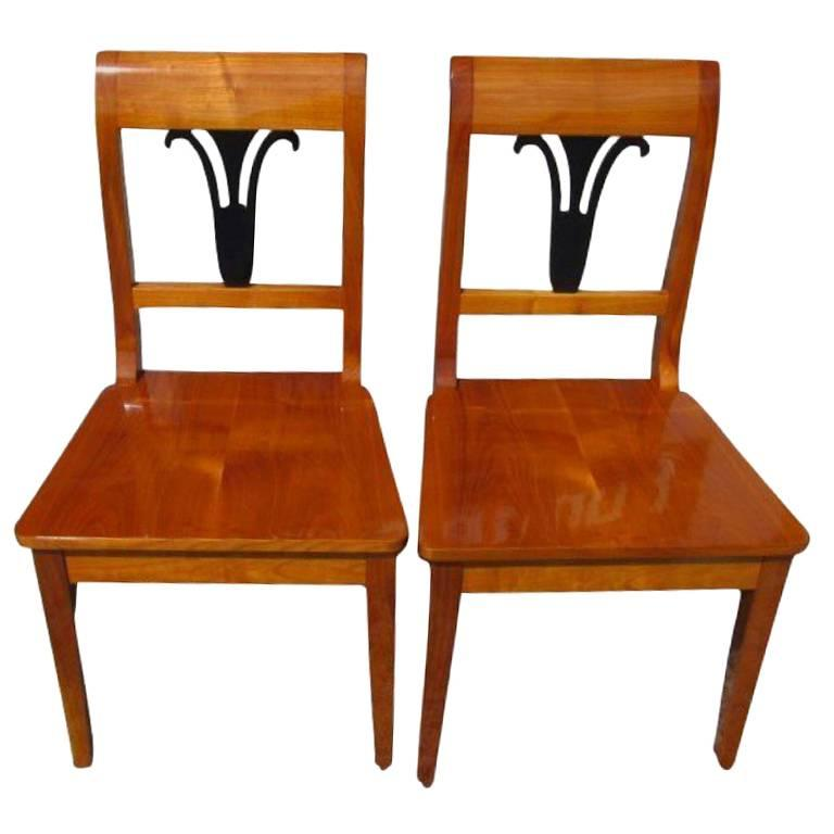 Pair of Biedermeier Style Chairs For Sale